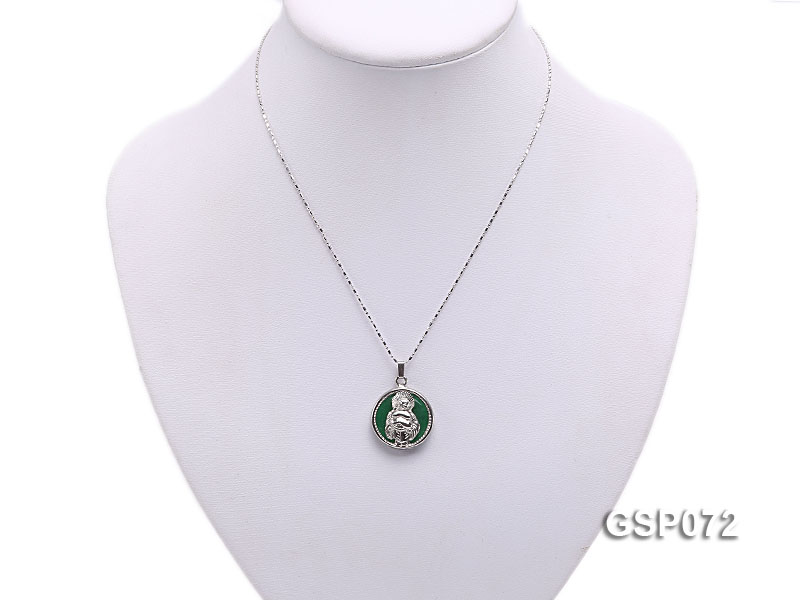 22mm Round Green Buddha-Head Jade Pendant  big Image 5
