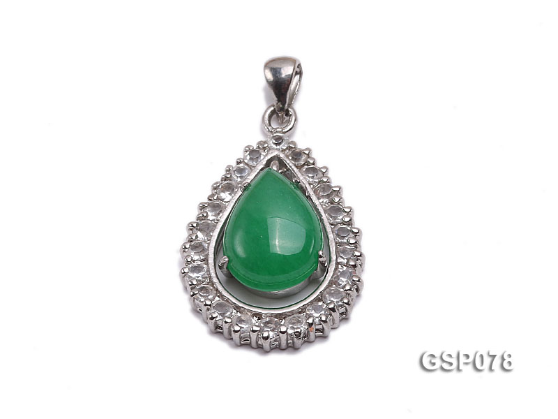 18x24mm Green Jade Cabochon Pendant with Zircon big Image 1