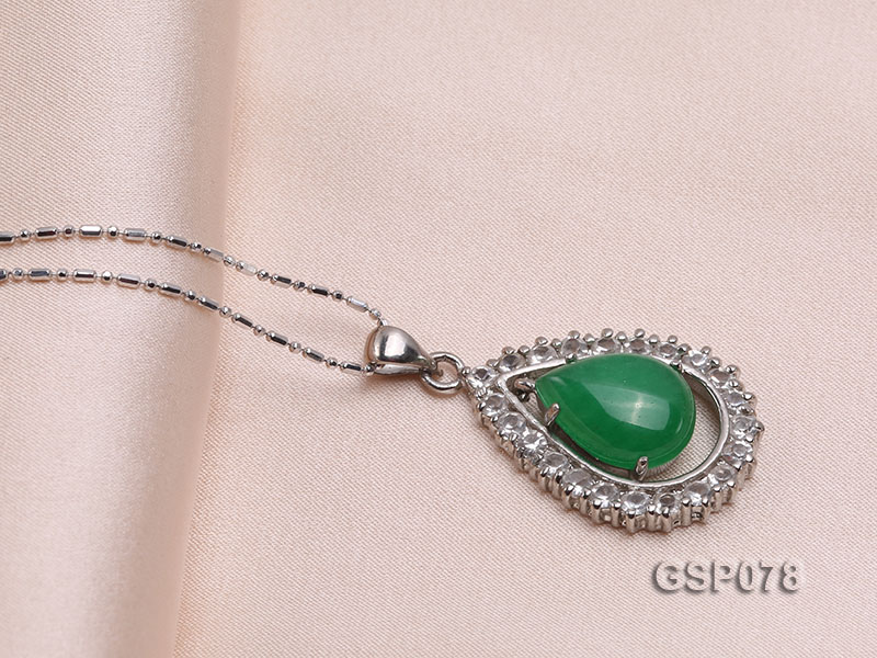 18x24mm Green Jade Cabochon Pendant with Zircon big Image 2
