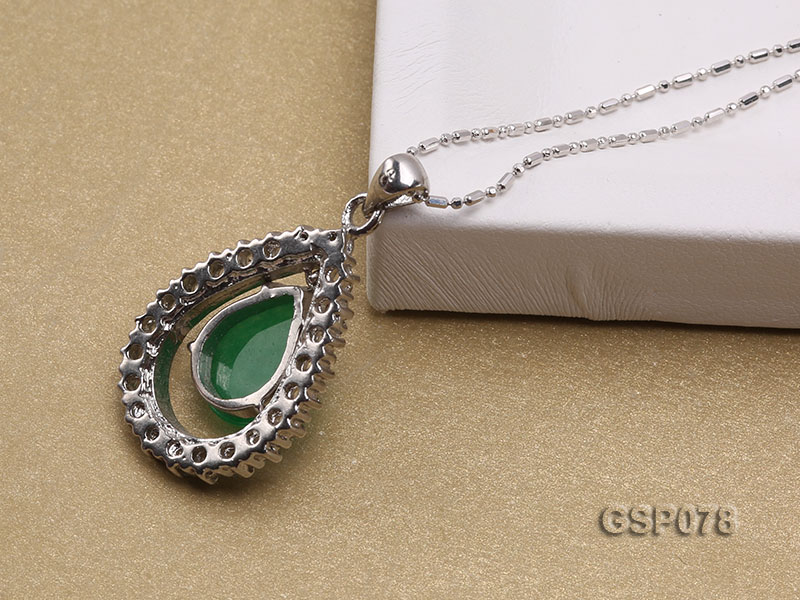 18x24mm Green Jade Cabochon Pendant with Zircon big Image 3