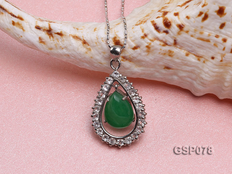 18x24mm Green Jade Cabochon Pendant with Zircon big Image 4