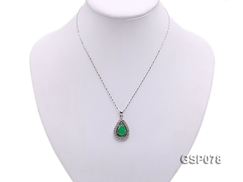 18x24mm Green Jade Cabochon Pendant with Zircon big Image 5