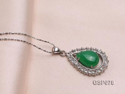 18x24mm Green Jade Cabochon Pendant with Zircon GSP078 Image 2
