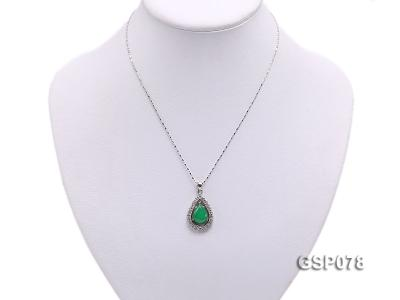 18x24mm Green Jade Cabochon Pendant with Zircon GSP078 Image 5
