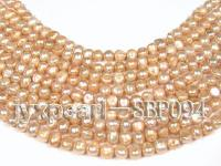 Wholesale 8-9mm Yellowish Flat Cultured Freshwater Pearl String SBP094