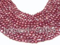 Wholesale 8-9mm Garnet Red Flat Cultured Freshwater Pearl String SBP095