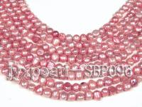 Wholesale 8-9mm Light Garnet Red Flat Cultured Freshwater Pearl String SBP096
