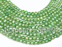 Wholesale 8-9mm Green Flat Cultured Freshwater Pearl String  SBP097