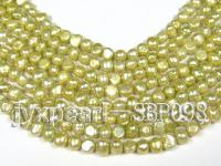 Wholesale 8-9mm Light Yellow-green Flat Cultured Freshwater Pearl String SBP098