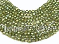 Wholesale 8-9mm Yellow Green Flat Cultured Freshwater Pearl String SBP099