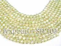 Wholesale 8-9mm Pale Green Flat Cultured Freshwater Pearl String SBP100