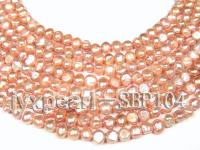 Wholesale 8-9mm Pink Flat Cultured Freshwater Pearl String SBP104