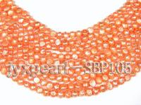Wholesale 8-9mm Orangered Flat Cultured Freshwater Pearl String SBP105