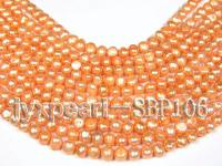 Wholesale 8-9mm Orange Flat Cultured Freshwater Pearl String SBP106