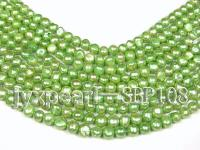 Wholesale 9-10mm Green Flat Cultured Freshwater Pearl String SBP108
