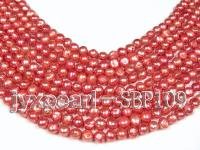 Wholesale 9-10mm Garnet Red Flat Cultured Freshwater Pearl String SBP109