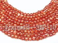 Wholesale 9-10mm Reddish Orange Flat Cultured Freshwater Pearl String SBP110