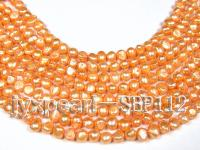 Wholesale 9-10mm Golden Flat Cultured Freshwater Pearl String SBP112