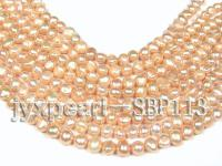 Wholesale 9-10mm Light Yellow Flat Cultured Freshwater Pearl String SBP113