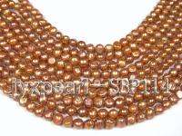 Wholesale 9-10mm Golden Brown Flat Cultured Freshwater Pearl String SBP114