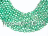 Wholesale 9-10mm Green Flat Cultured Freshwater Pearl String SBP115