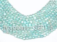 Wholesale 7-8mm Silver Green Flat Cultured Freshwater Pearl String SBP116