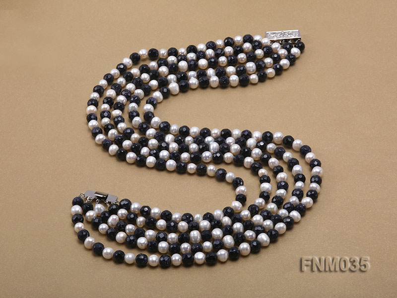 5 strand white freshwater pearl and bule sand stone necklace big Image 5