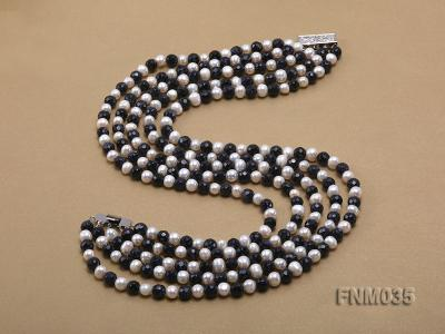 5 strand white freshwater pearl and bule sand stone necklace FNM035 Image 5