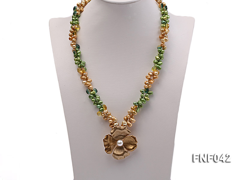 Two-strand Yellow and Green Freshwater Pearl Necklace with a Gilded Metal Flower Pendant big Image 2