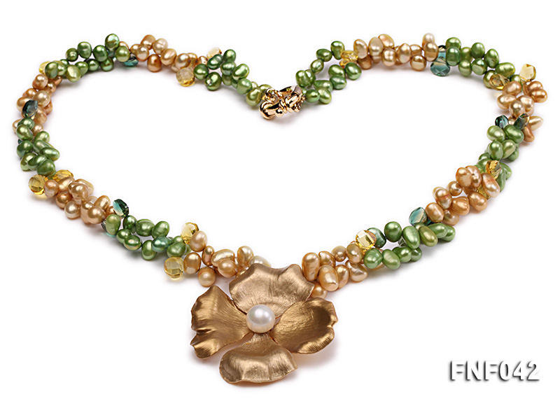 Two-strand Yellow and Green Freshwater Pearl Necklace with a Gilded Metal Flower Pendant big Image 1