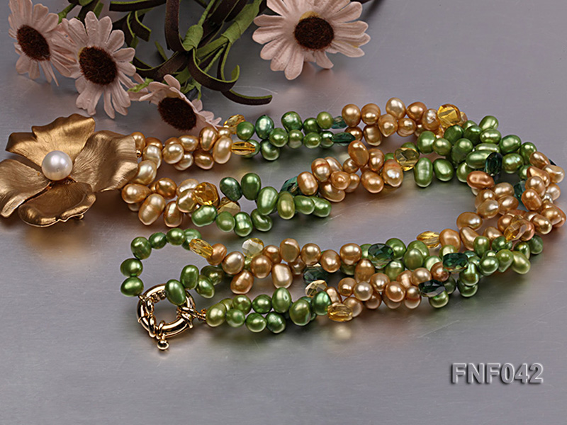 Two-strand Yellow and Green Freshwater Pearl Necklace with a Gilded Metal Flower Pendant big Image 3