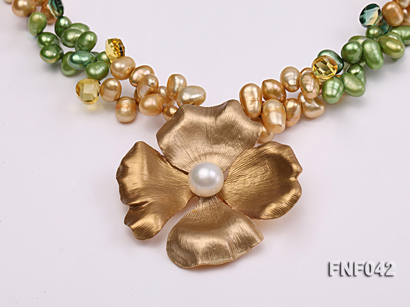 Two-strand Yellow and Green Freshwater Pearl Necklace with a Gilded Metal Flower Pendant big Image 4