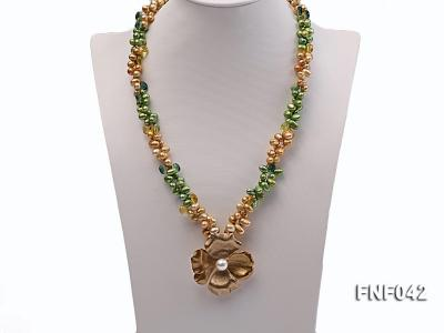 Two-strand Yellow and Green Freshwater Pearl Necklace with a Gilded Metal Flower Pendant FNF042 Image 2