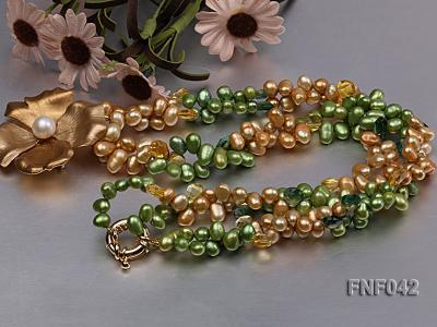 Two-strand Yellow and Green Freshwater Pearl Necklace with a Gilded Metal Flower Pendant FNF042 Image 3