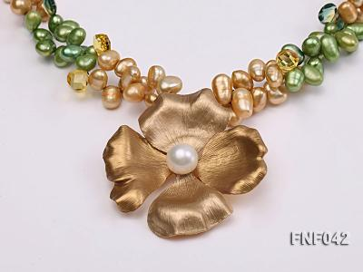 Two-strand Yellow and Green Freshwater Pearl Necklace with a Gilded Metal Flower Pendant FNF042 Image 4