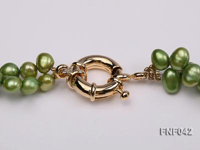 Two-strand Yellow and Green Freshwater Pearl Necklace with a Gilded Metal Flower Pendant FNF042 Image 5