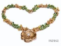 Two-strand Yellow and Green Freshwater Pearl Necklace with a Gilded Metal Flower Pendant FNF042
