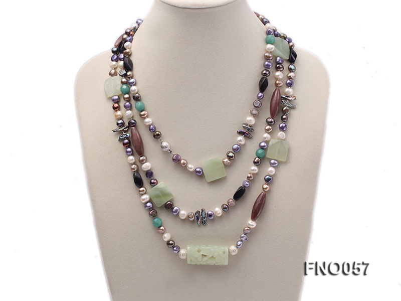 7-9mm multicolor flat pearl and jade and agate necklace big Image 1