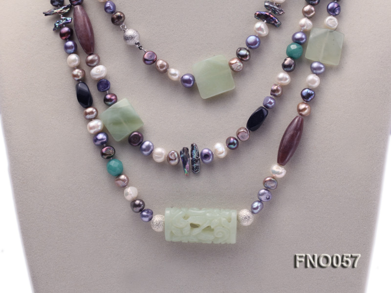 7-9mm multicolor flat pearl and jade and agate necklace big Image 2