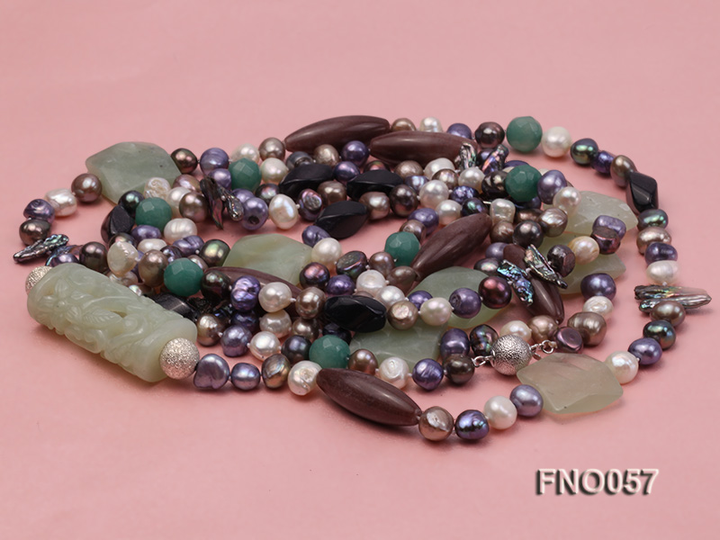 7-9mm multicolor flat pearl and jade and agate necklace big Image 3