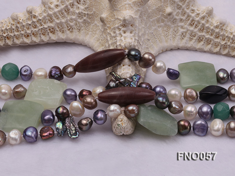 7-9mm multicolor flat pearl and jade and agate necklace big Image 4