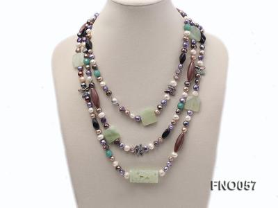 7-9mm multicolor flat pearl and jade and agate necklace FNO057 Image 1