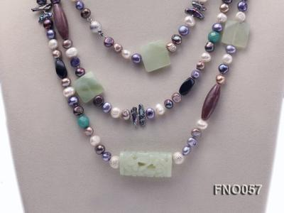 7-9mm multicolor flat pearl and jade and agate necklace FNO057 Image 2