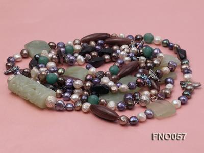 7-9mm multicolor flat pearl and jade and agate necklace FNO057 Image 3