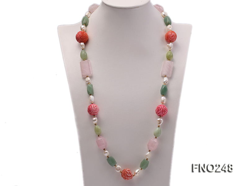 6-7mm white baroque freshwater pearl and red round coral and jade opera necklace big Image 1