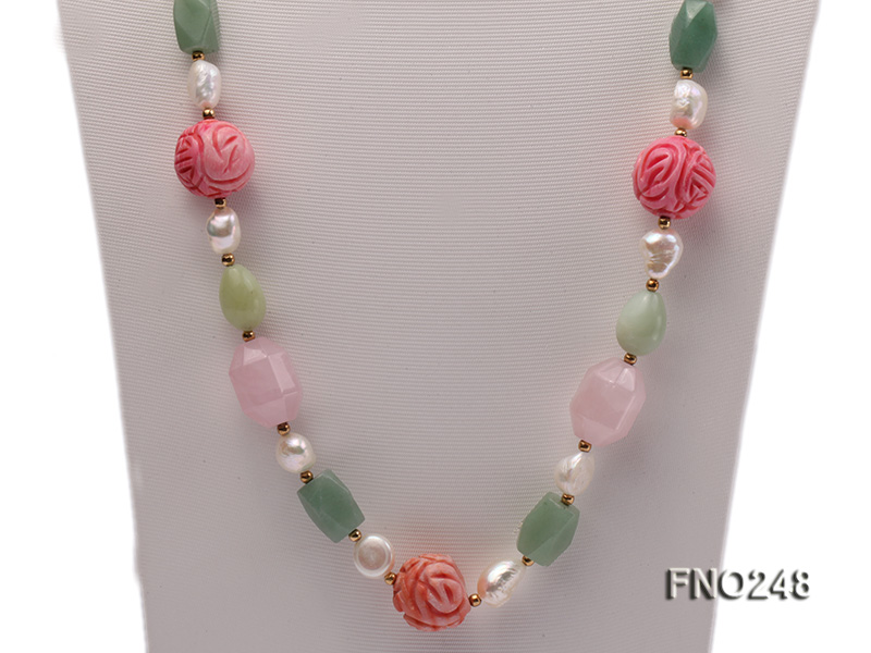 6-7mm white baroque freshwater pearl and red round coral and jade opera necklace big Image 2
