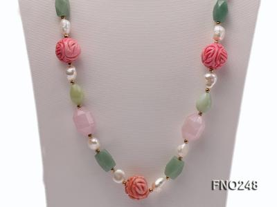 6-7mm white baroque freshwater pearl and red round coral and jade opera necklace FNO248 Image 2