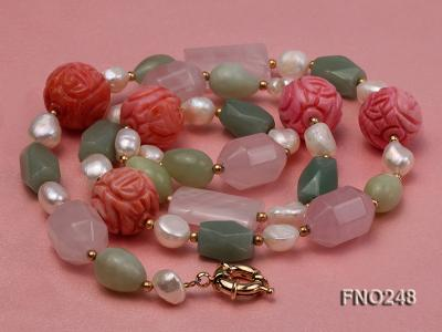 6-7mm white baroque freshwater pearl and red round coral and jade opera necklace FNO248 Image 3