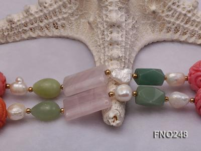 6-7mm white baroque freshwater pearl and red round coral and jade opera necklace FNO248 Image 4