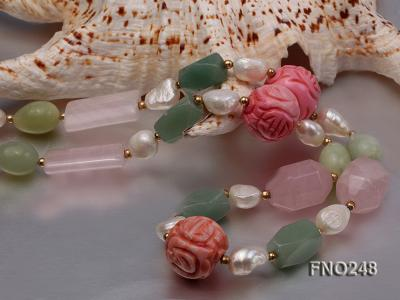 6-7mm white baroque freshwater pearl and red round coral and jade opera necklace FNO248 Image 5